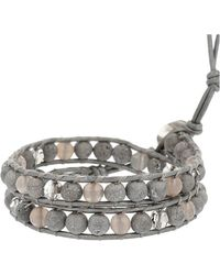 Chan Luu Silver Agate Mix Single Wrap Bracelet - Metallic