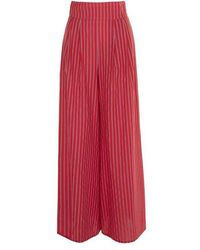 Beatrice B. Striped Pants - Red