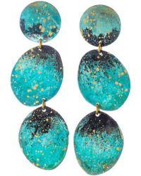 Sibilia Large Forest Three Pebble Earrings - Blue