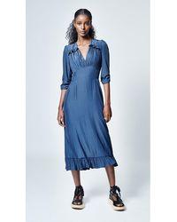 Smythe Midi Tea Dress Navy - Blue
