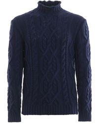Paolo Fiorillo Capri Blue Cable Knit Merino Wool Jumper - Black