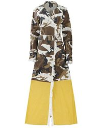 Thale Blanc Chicago Coat Long In Camo And Yellow - Multicolour