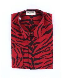 Saint Laurent Saint Laurent Animal Print Silk Shirt - Red