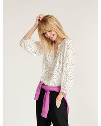 Nrby Lucille Silk Multispot Shirt Ivory - White
