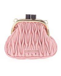 Miu Miu - Women's 5bp016n88f0028 Pink Leather Pouch - Lyst