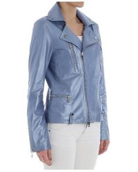 DESA NINETEENSEVENTYTWO Light-blue Leather Biker Jacket