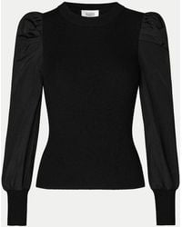 Second Female Malia Knit With Puff Sleeve Detail - Black
