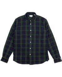 Hartford Paul Double Face Plaid Shirt Green / Navy - Multicolor