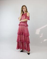 Cecilia Prado Raspberry Ruffled Cold Shoulder Dress - Red