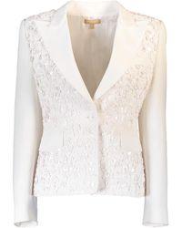Michael Kors Embroidered Crepe Jacket - White