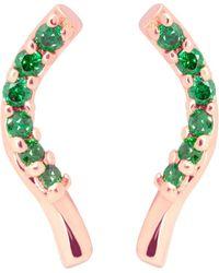 Tada & Toy Seaweed Studs - Rose /green - Metallic