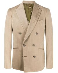 Maurizio Miri Double-breasted Fitted Blazer - Natural