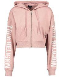 True Religion Oversized Arch Crop Zip Hoody - Pink