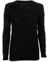 Ralph Lauren - Women's V39xz83ixy83ixw7uv Black Cotton Sweater - Lyst