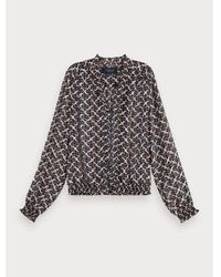 Maison Scotch - Printed Long Sleeve Ruffle Neckline Top In Combo F 15701 - Lyst