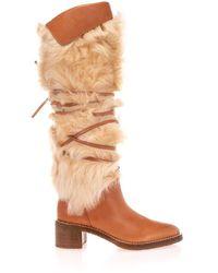 Celine Cã‰line Women's 340014240c04lu Brown Leather Boots