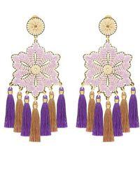Mercedes Salazar Lilac Hibiscus Flower Earrings - Purple