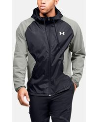Under Armour Stretch Woven Full Zip Jacket - Green/black