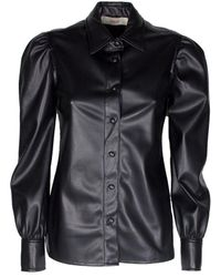 Jucca Shirt Faux Leather With Straps - Black