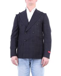 Isaia Double-breasted Jacket In Color - Blue
