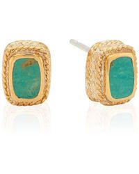 Anna Beck Turquoise Cushion Stud Earrings - Blue