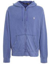Ralph Lauren Sweatshirt With Hood Blue