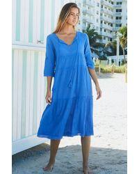 Aspiga Willow Embroidered Organic Cotton Dress | Marina - Blue