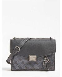 Guess Valy Flap Cross Body Bag Colour: Coal - Black