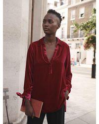Nrby Lottie Velvet Tie Cuff Shirt - Red