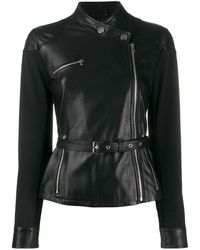 Pinko Women's 1g14sxy636z99 Black Leather Outerwear Jacket