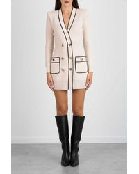 Elisabetta Franchi Robe Manteau In Piping Knit In Contrast - Yellow