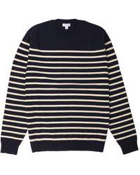 Sunspel Breton Crew Neck Knit Navy / Ecru - Blue