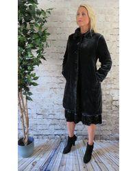 Out Of Xile Silk Velvet Coat In Sapphire - Black