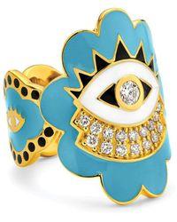 Buddha Mama Sky Blue Scalloped Evil Eye Ring