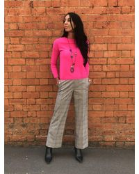 Caractere Prince Of Wales Turn Up Trousers Grey - Pink