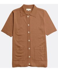 Far Afield Velzy Short Sleeve Cardigan Thrush - Brown
