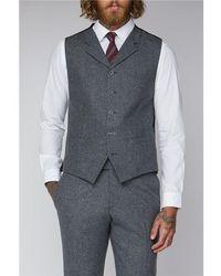 Gibson London Tweed Suit Waistcoat - Grey