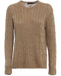 Polo Ralph Lauren Gold Lurex Viscose Yarn Sweater - Metallic