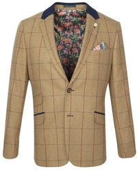 Guide London Brown Herringbone With Red & Navy Check Blazer
