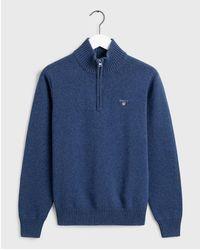 GANT Marine Casual Cotton Half Zip Sweater 80000513 - Blue