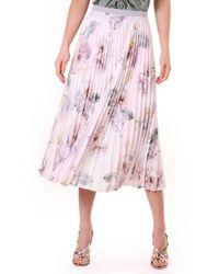 Ted Baker Womens Maziiy Woodland Pleated Skirt - Pink