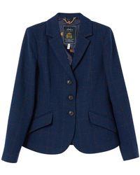 Joules Ladies Milford Single Breasted Tweed Jacket - Blue