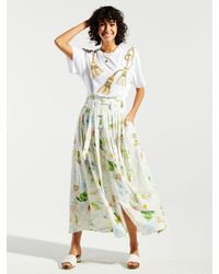 Hayley Menzies Paradise Found Cotton Broderie Pleated Maxi Skirt - White
