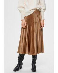 SELECTED Harmony Midi Pleated Skirt Tigers Eye - Brown