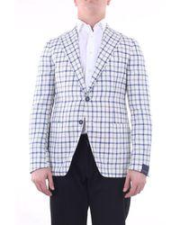 Tagliatore Jackets Blazer Men White And Blue