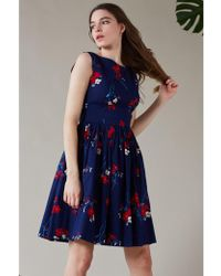 Emily and Fin Abigail Spring Floral Pleated Dress - Blue