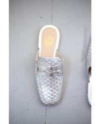 Ash Eloise Woven Silver Slip-on Loafers - Metallic