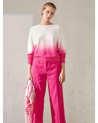 Luisa Cerano And White Ombré Gradient Knit Sweater 138864/5866 - Pink