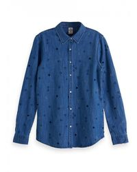 Scotch & Soda Scotch & Soda All Over Embroidered Western Shirt - Blue
