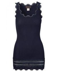 Rosemunde Wide Lace Silk Blend Vest Navy - Blue